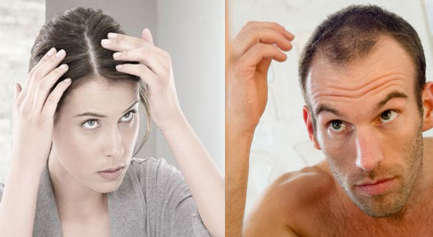man and woman with thinning hair loss